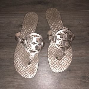 Tory Burch Metallic Marion Quilted Miller Sandals